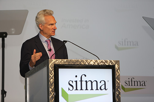 Jim Rosenthal, Morgan Stanley COO, gives the opening remarks at the SIFMA Annual Meeting.