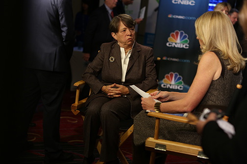 Mary Thompson interviews Mary Jo White, SEC Chair, for CNBC following their question and answer session at the 2014 SIFMA Annual Meeting.