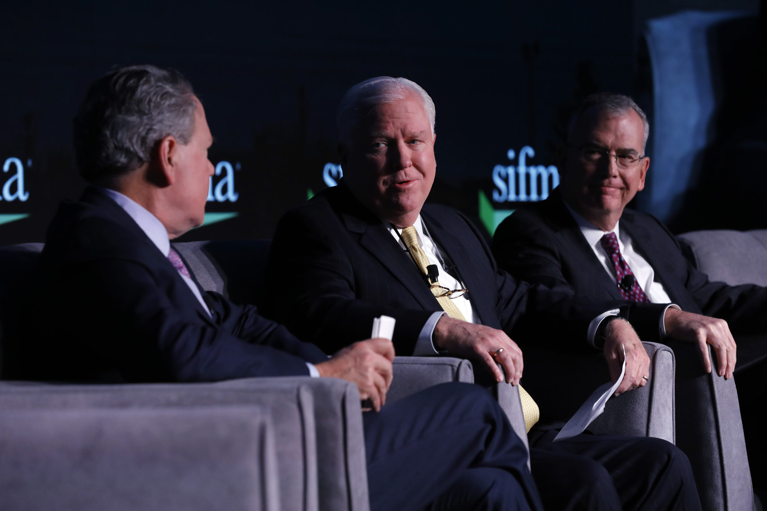 A fireside chat with the Chair and Chair-Elect of SIFMAÕs Board of Directors: Kenneth Bentsen, Jr., James Allen and Joseph Sweeney during SIFMA Annual Meeting, the Capital Markets Conference, in Washington on November 19, 2019.