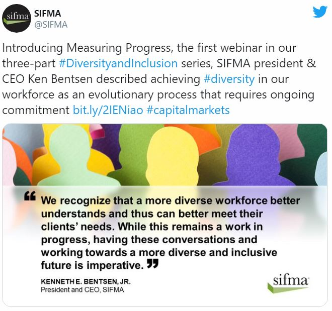 Advancing Diversity, Equity, and Inclusion SIFMA Twitter